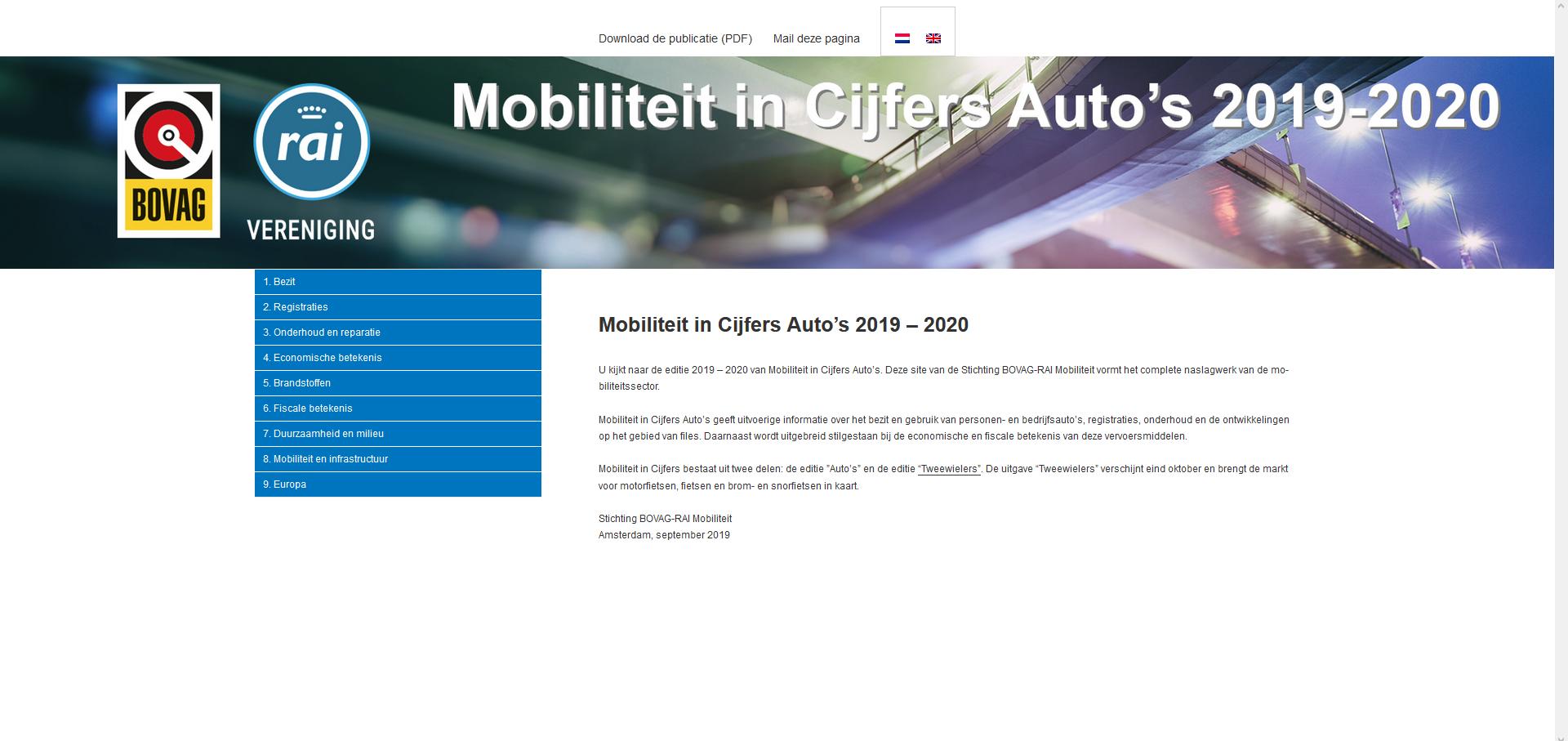 Mobiliteit in Cijfers Auto 2019