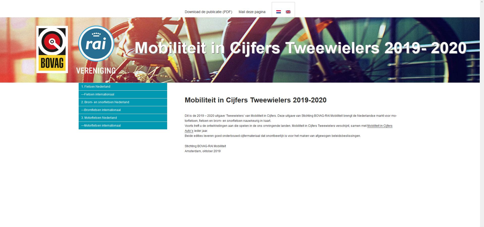 Mobiliteit in Cijfers Tweewielers 2019