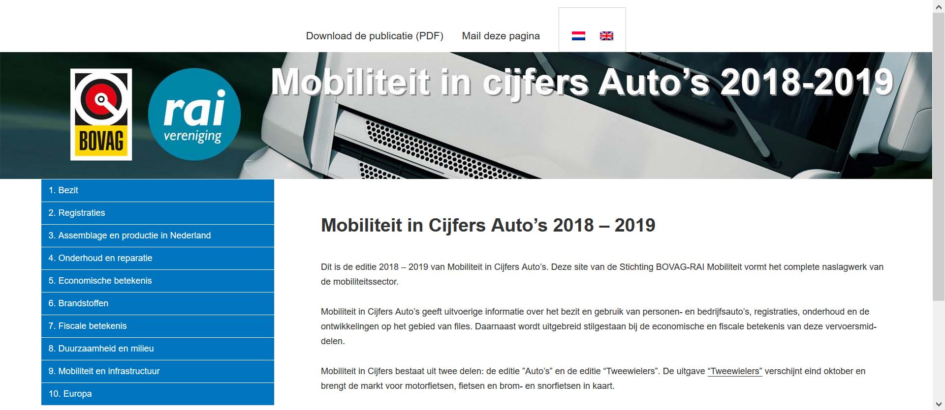 Mobiliteit in Cijfers Auto 2018