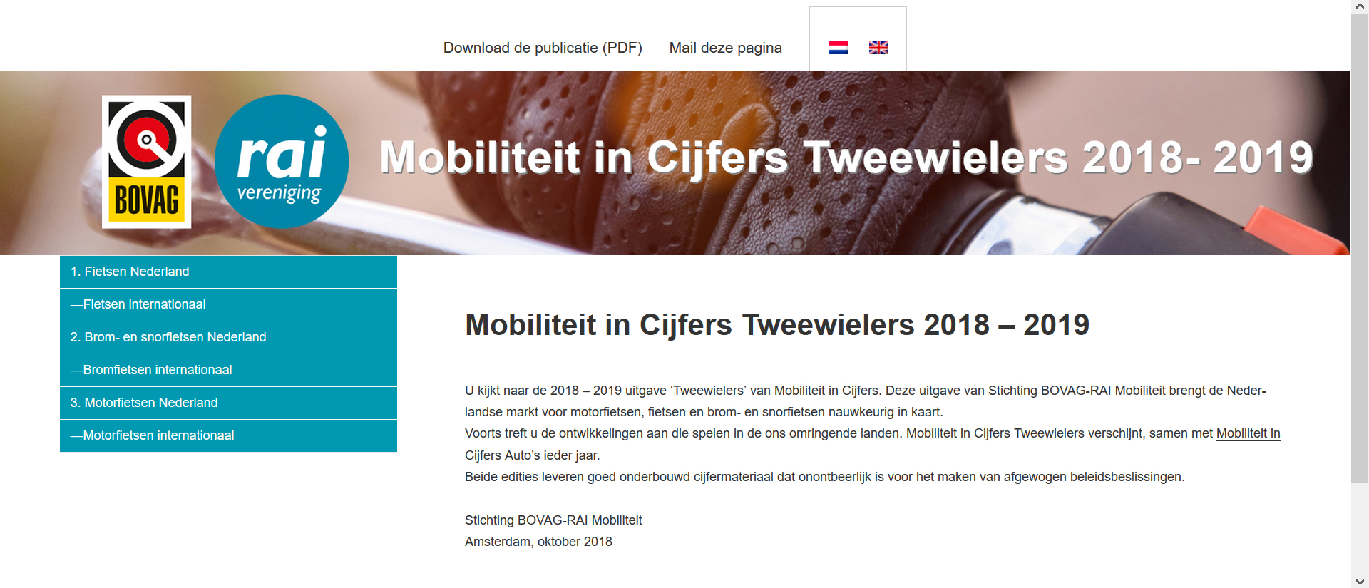 Mobiliteit in Cijfers Tweewielers 2018